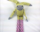 Pink Polka Dot and Striped SOCK BUNNY