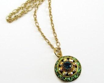 Green Rhinestone Necklace - Crystal Cluster Necklace - August Birthstone Gift - AURORA Spring Green