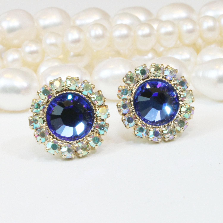 sapphire blue stud earrings royal blue gold studs sapphire. Black Bedroom Furniture Sets. Home Design Ideas