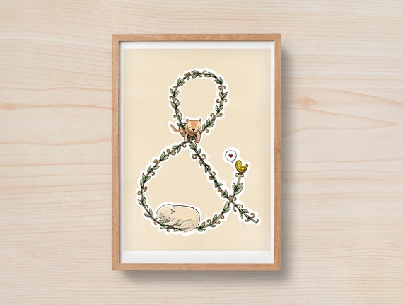 Ampersand cat and dog Love nature - Print 8 x 11.5