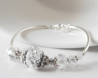 Crystal Bridal Jewelry Clear Crystal Bracelet Antiqued Silver Wedding Jewelry Sets Beaded Bridesmaid Bracelet Bridesmaid Jewelry Gift