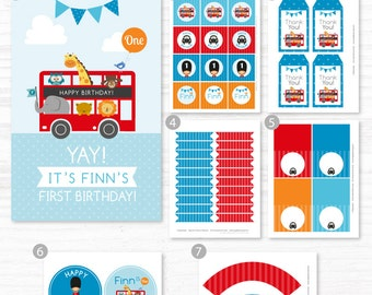 London Party Decorations, London Birthday, London Party, Lodon Bus Animals Birthday, DIY Party Collection, Party Kit, Party Printables