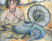 Original Watercolor and Pencil Painting- Ever Lovely Sea Wench