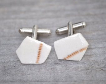 Porcelain Cufflinks In Ivory And Brown, One Of A Kind Cufflinks Handmade In The UK