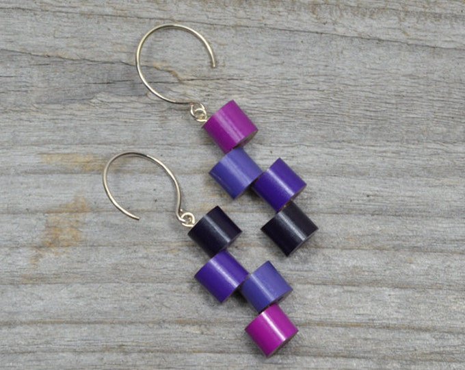Purple Color Pencil Earrings With Sterling Silver, Color Theme: Purple And Pink Fever Pencil Jewelry, Handmade In England By Huiyi Tan