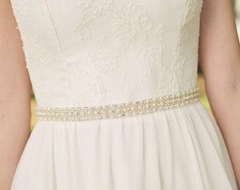 Pearl Bridal Belt | Pearl Wedding Dress Belt | Wedding Dress Sash | Pearl Bridal Sash [Tribune Sash]