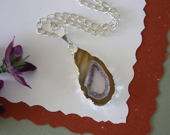 Geode Necklace Silver, Crystal Necklace, Geode Agate Slice, Druzy Pendant, Natural Geode, GS85