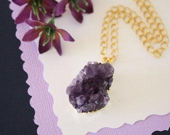 Amethyst Cluster Necklace Silver, Amethyst Pendant, Amethyst Geode, Raw, AP49