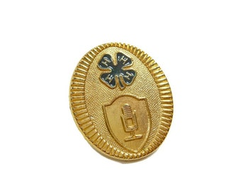 1960's Vintage 4-H Pin | Club Award | Insignia Hat Pin |  Badge Crest | Emblem Pin | Medallion Gold Tone | Collectible Pin | Upcycle Supply