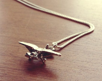 Piper Cub Airplane Charm Necklace, .999 Fine Sterling Silver Plated Plane Charm Necklace, Nickel Free Jewelry, Free Shipping.