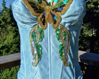 Strapless Top, Corset Top, Butterfly Top, Festival Top, Beaded Top, Blue Gypsy top, size M