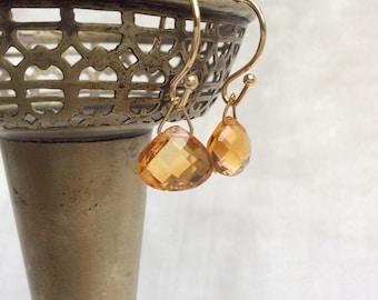 Citrine tear drop earrings