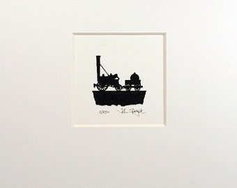 Stephenson's Rocket Hand Cut Papercut (Tiny Version)