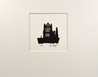 Whitby Abbey Hand Cut Papercut (Tiny Version)