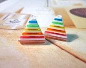 SALE - Rainbow Triangle Stud Earrings - No.02