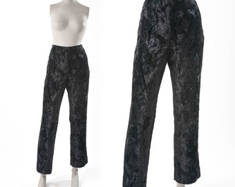 Black Faux Fur Pants, Vintage Crushed Velvet Trousers, Made in England, Cigarette Pants