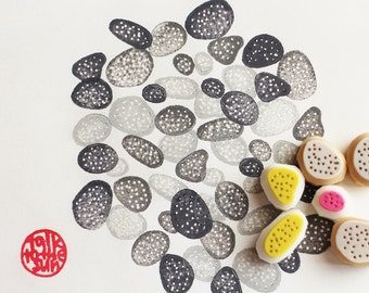 pebble hand carved rubber stamps. stone stamp. zen garden stamp. scrapbooking. card making. natured inspired craft projects. set of 6