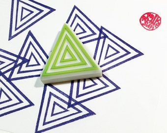 triangle pattern stamp. geometric hand carved rubber stamp. card making. stamps by talktothesun