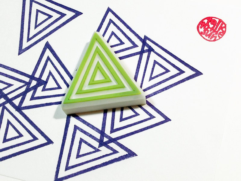 Triangle pattern stamp geometric hand carved rubber