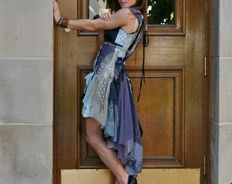 RESERVED upcycled clothing . XS - S . romantic dress . drops of jupiter