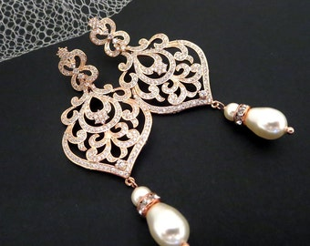 Rose Gold earrings, Bridal jewelry, Wedding earrings, Chandelier earrings, Bridal earrings, Pearl earrings Swarovski Crystal earrings AMELIA
