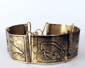 Brass Raven Panel Bracelet