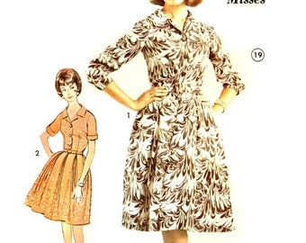 Misses Pleated Dress Fitted Dart Bodice Advance 3114 Sewing Pattern Vintage 1960's Shirtwaist Size 14 Bust 34 Inch