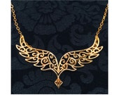 Ready to Ship - Angel Wings Statement Pendant - 22K Gold Gilded Brass