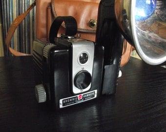 Mid Century Kodak Brownie Hawkeye Camera & Flash Outfit with Camera Bag