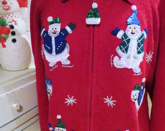 Ugly Christmas Sweater - Sequined Snowmen on Skates - Shoulder Pads -  Red Cardi - Size L - Same Day Shipping - Unisex - Ugly Sweater Party