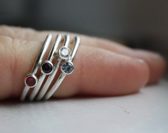 Stacking Rings, Birthstone Rings,  Made To Order, Sterling Silver