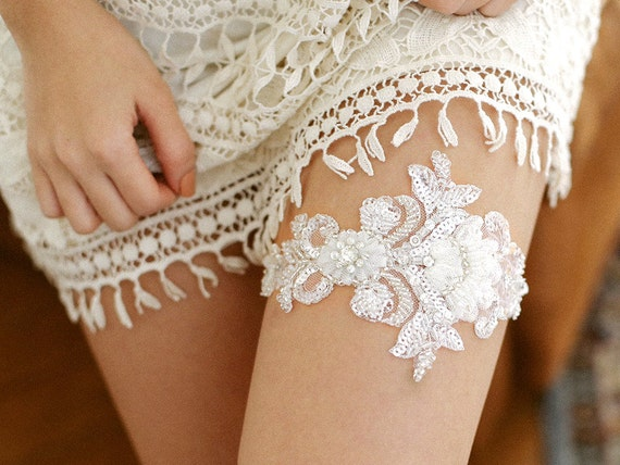 Antique lace garter, silver garter, floral bridal garter, wedding garter - style #511