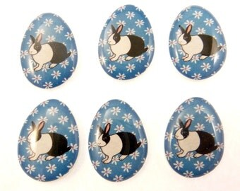 "6 NO HOLE Easter Egg Shaped Rabbit Glue On Buttons.  Supply for Earrings, Hair Clips, Scrapbooking.  3/4"" or 20 mm tall."