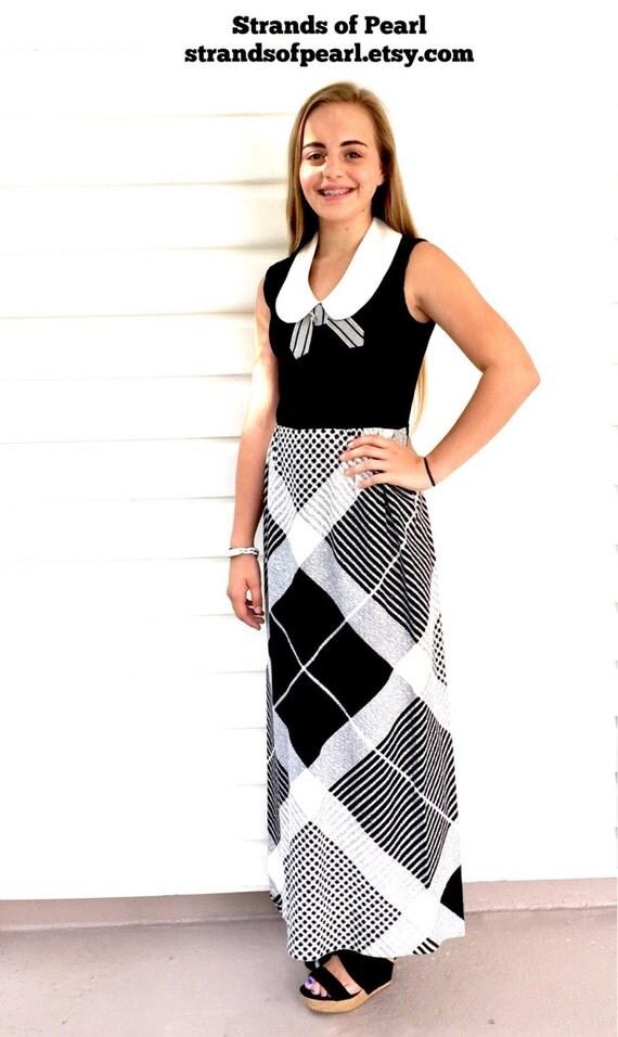 Vintage Black and White Maxi Dress