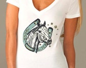 horse shirt - horse tshirt - womens tshirts - cowgirl shirt - cowgirl tshirt - luck shirt - cowboy shirt - GOOD LUCK shirt - deep vneck