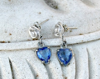Silver and Sapphire Blue Dangle Earrings, Rose, Heart Charm, Gift for Her