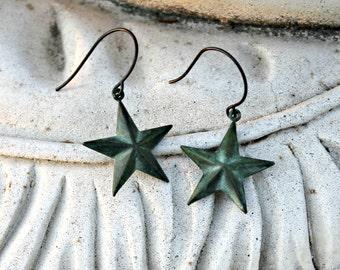 Star Dangle Earrings, Patina Brass, Verdigris, Celestial, Antiqued Brass, 3D, Teal, Blue Green, Rustic, Gift for Her, Women's, Solar System,