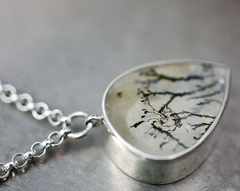 Dendritic Quartz necklace in sterling silver