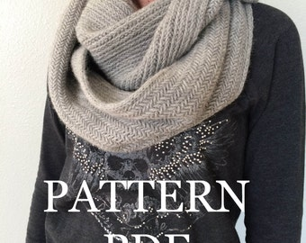 NeW PATTERN PDF - Alsace Herringbone Cowl Pattern for DIY Cowl - Easy Knitting Pattern - Instant Download
