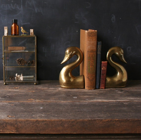 vintage brass swan bookends fluid sculpted from nowvintage on