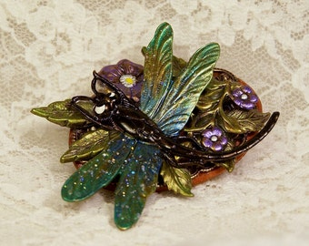 Hand Painted Dragonfly Brooch, Hand Made Embellished Collage Pin, Woodland Art, Made in USA, Gardening Gift, Outlander Jewelry, Insect