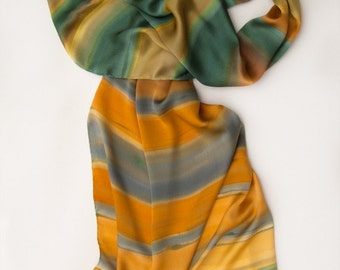 Amber silk satin shawl. Hand painted scarf. Green Yellow Striped scarf/ Luxury scarf shawl painted/ Woman fashion accessory/ Gift for mother