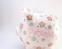 Daisy Piggy Bank - Personalized Piggy Bank - Piggy Bank with Flowers - Girls Piggy Bank - Garden Theme Bank - with hole or NO hole in bottom