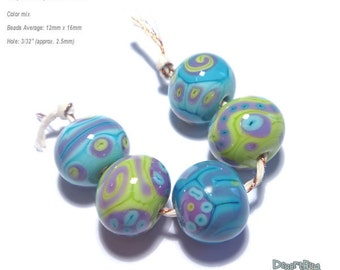 ALIEN BOBS Handmade Lampwork Bead Set in MIx of Green Blue Purple -   Set of 5