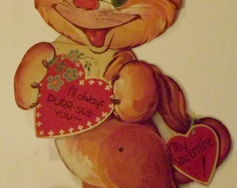 "Large 12"" Vintage Mechanical Valentine Card Cat"