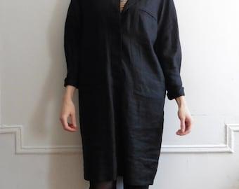 Reserved Black Minimal Linen Dress