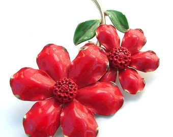 Antique Jewelry Red Flower Enamel Metal Garden Brooch