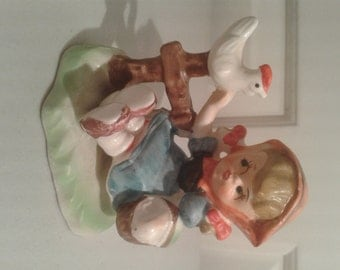 CLEARANCE PRICED - Little Girl and Pet Chicken Porcelain Figurine