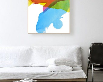 """Original Abstract Painting, blue, green, pink, orange, yellow, 25 x 30"""" -- """"Late Fall"""", mid century inspired art, colorful modern art"""