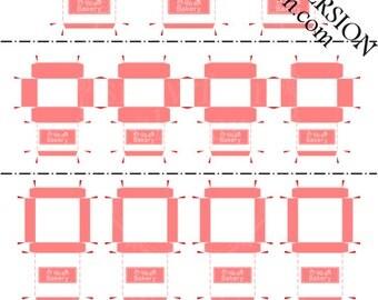 Printable PDF File - Dollhouse Miniature Bakery Boxes - Salmon Pink